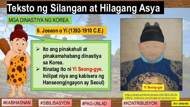 #SIBILISASYON #PAG-UNLAD #KONTRIBUSYON#KABIHASNAN 2ND GRADING ➢ Ito ang pinakahuli at pinakamahabang dinastiya sa Korea. ➢...