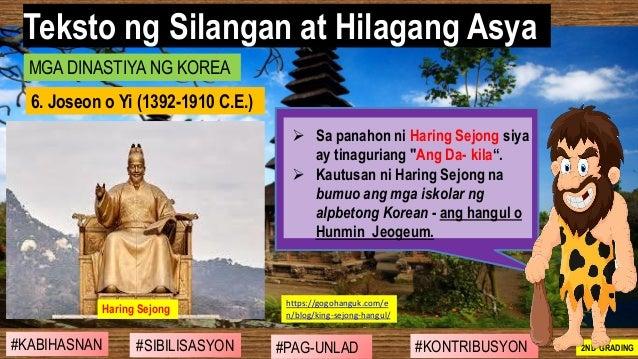 """#SIBILISASYON #PAG-UNLAD #KONTRIBUSYON#KABIHASNAN 2ND GRADING ➢ Sa panahon ni Haring Sejong siya ay tinaguriang """"Ang Da- k..."""