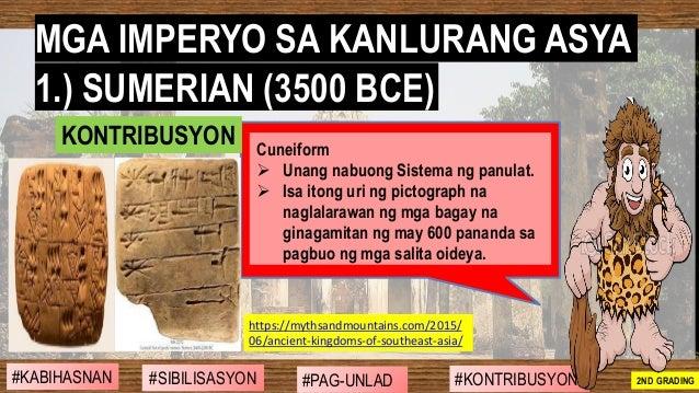 #SIBILISASYON #PAG-UNLAD #KONTRIBUSYON#KABIHASNAN 2ND GRADING Cuneiform ➢ Unang nabuong Sistema ng panulat. ➢ Isa itong ur...