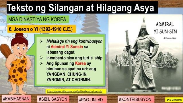 #SIBILISASYON #PAG-UNLAD #KONTRIBUSYON#KABIHASNAN 2ND GRADING ➢ Mahalaga rin ang kontribusyon ni Admiral Yi Sunsin sa laba...