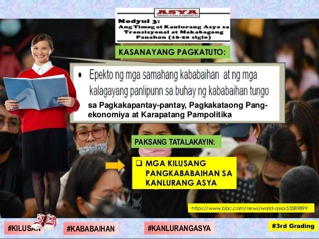 PAKSANG TATALAKAYIN:  MGA KILUSANG PANGKABABAIHAN SA KANLURANG ASYA KASANAYANG PAGKATUTO: sa Pagkakapantay-pantay, Pagkak...
