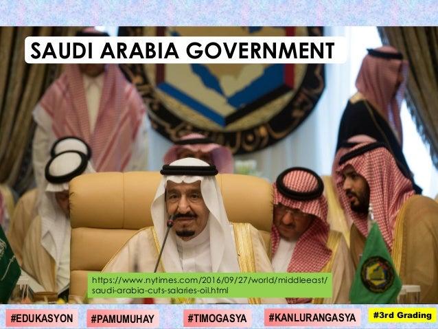 https://www.nytimes.com/2016/09/27/world/middleeast/ saudi-arabia-cuts-salaries-oil.html SAUDI ARABIA GOVERNMENT #1st Grad...