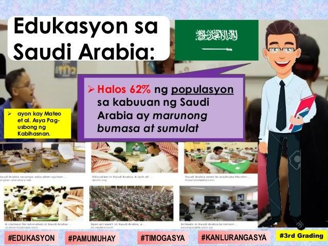  ayon kay Mateo et al. Asya Pag- usbong ng Kabihasnan. Halos 62% ng populasyon sa kabuuan ng Saudi Arabia ay marunong bu...