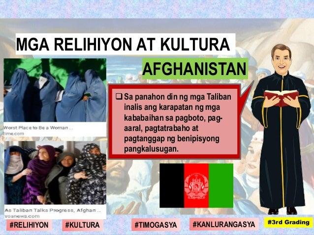 Sa panahon din ng mga Taliban inalis ang karapatan ng mga kababaihan sa pagboto, pag- aaral, pagtatrabaho at pagtanggap n...