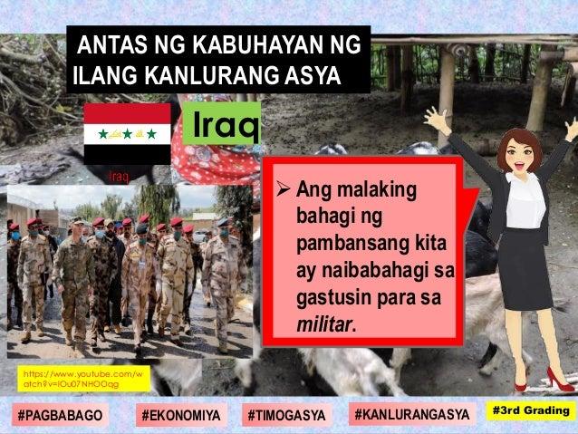  Ang malaking bahagi ng pambansang kita ay naibabahagi sa gastusin para sa militar. https://www.youtube.com/w atch?v=lOu0...
