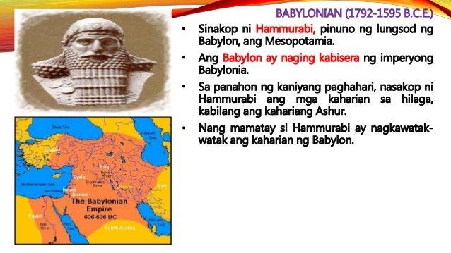ASSYRIAN (1813-605 B.C.E.) • Isa si Ashurbanipal (circa 668-627 B.C.E.) sa mga haring kinakitaan ng maayos na pamamahala s...