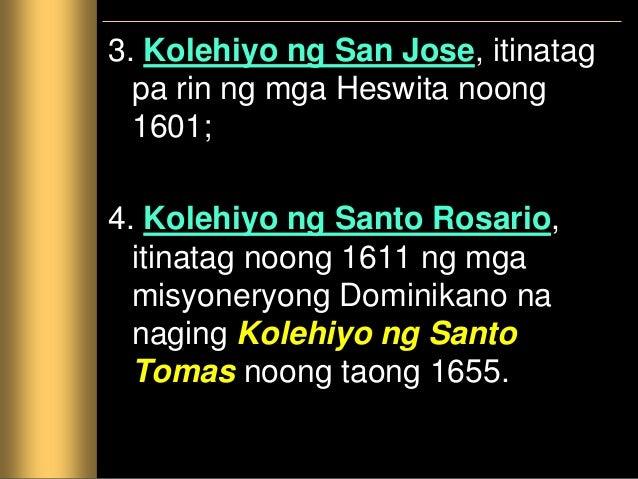 Mga Pamantasan Ang mga nakapagtapos sa kolehiyo ay maaaring makapagpatuloy ng pag-aaral sa mga pamantasang itinatag ng mga...