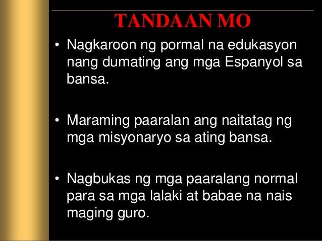 PAGTATAYA Isulat ang wastong sagot sa iyong kuwadernong sagutan. 1. Ang mga paaralang parokyal ay pinamahalaan ng mga ____...