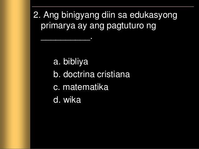 3. Ang sumusunod ang mga kasanayang bokasyonal maliban sa isa. Ito ay ang _________. a. pagpipinta b. paglililok c. pagkuk...