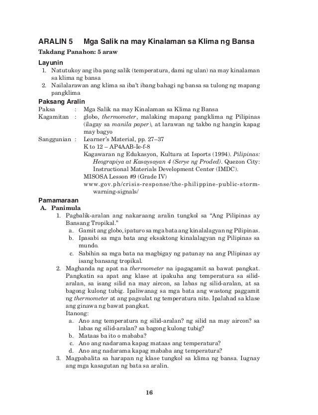 K TO 12 GRADE 4 TEACHER'S GUIDE IN ARALING PANLIPUNAN (Q1-Q4)