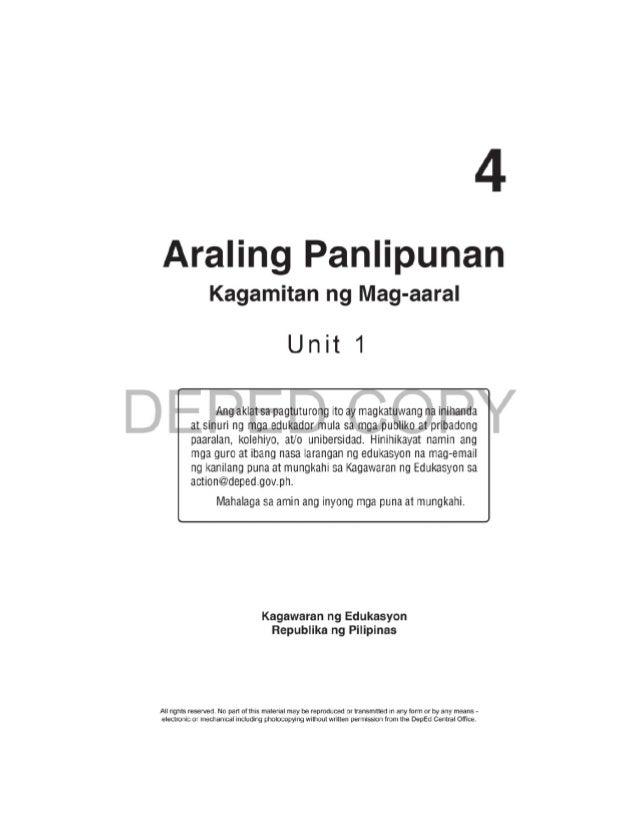 D EPED C O PY ii Araling Panlipunan – Ikaapat na Baitang Kagamitan ng Mag-aaral Unang Edisyon 2015 ISBN: ___________  Pau...