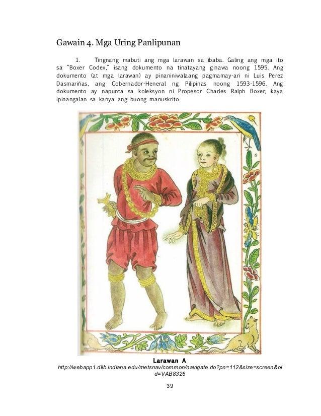 """! ! 39 Gawain 4. Mga Uring Panlipunan 1. Tingnang mabuti ang mga larawan sa ibaba. Galing ang mga ito sa """"Boxer Codex,"""" is..."""
