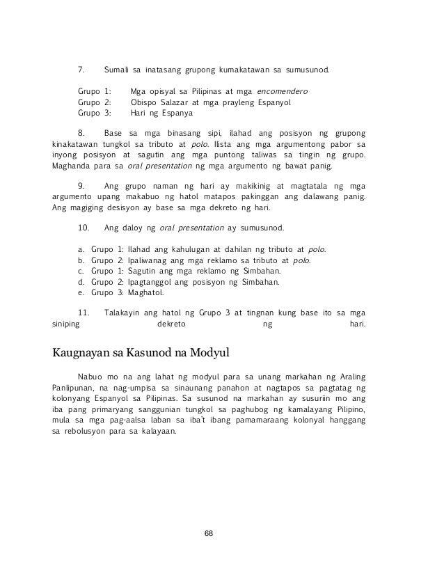 ! ! 68 7. Sumali sa inatasang grupong kumakatawan sa sumusunod. Grupo 1: Mga opisyal sa Pilipinas at mga encomendero Grupo...