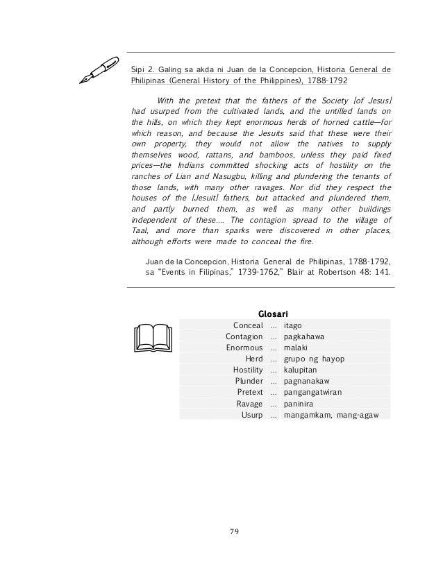 ! ! 79! ! Sipi 2. Galing sa akda ni Juan de la Concepcion, Historia General de Philipinas (General History of the Philippi...