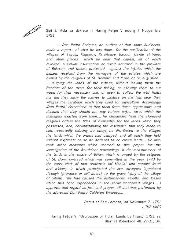 ! ! 80! ! Sipi 3. Mula sa dekreto ni Haring Felipe V noong 7 Nobyembre 1751 ... Don Pedro Enriquez, an auditor of that sam...