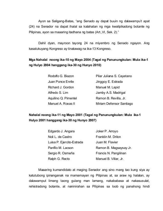 Ano ang pangalan ng 24 na senador ng pilipinas