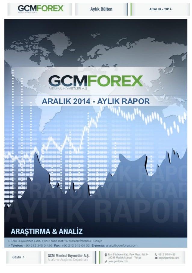 1  ARALIK - 2014  GCM MENKUL KIYMETLER A.Ş.  ARAŞTIRMA VE ANALİZ DEPARTMANI  ARALIK 2014 - AYLIK RAPOR