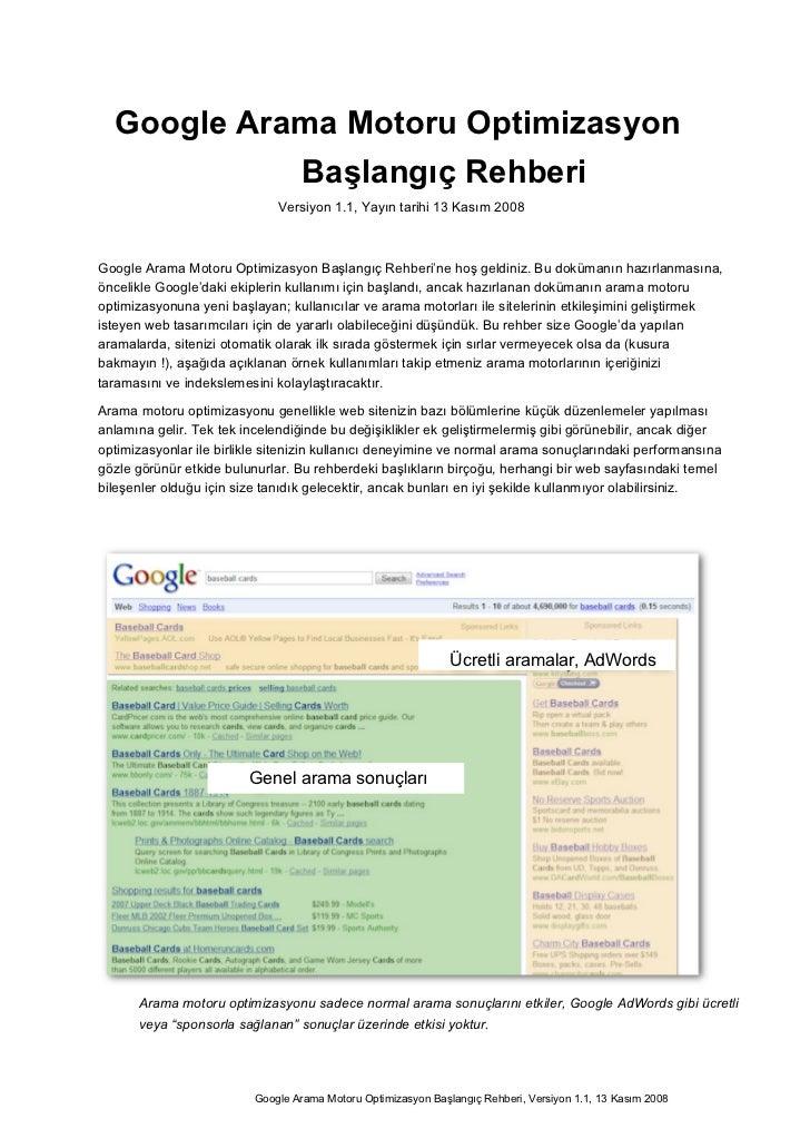 Google Arama Motoru Optimizasyon            Başlangıç Rehberi                              Versiyon 1.1, Yayın tarihi 13 K...