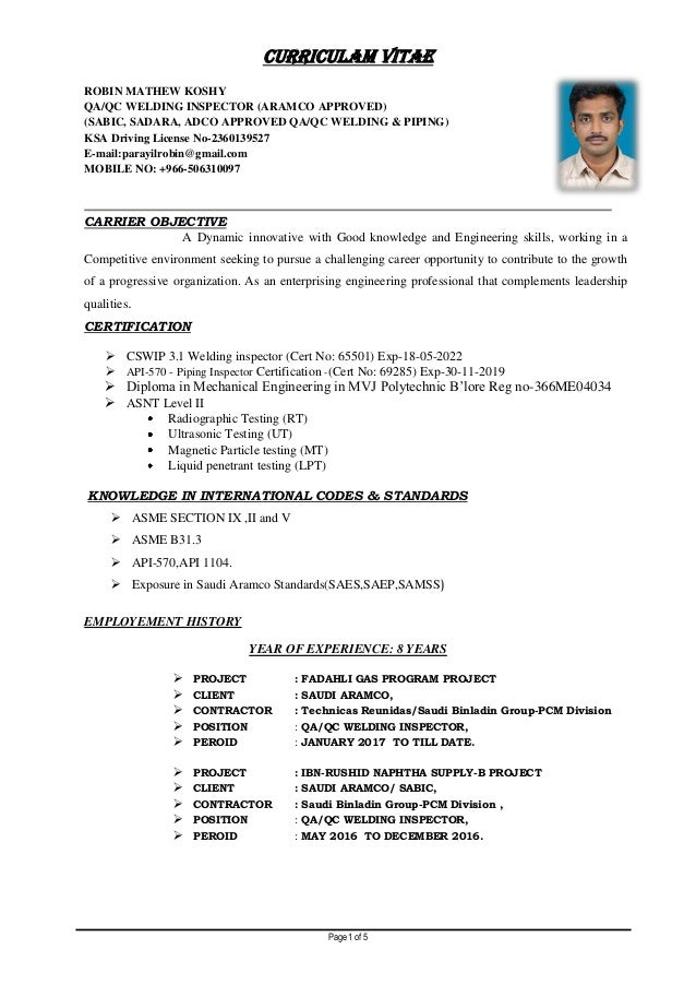 Aramco Approved Welding Inspector Resume