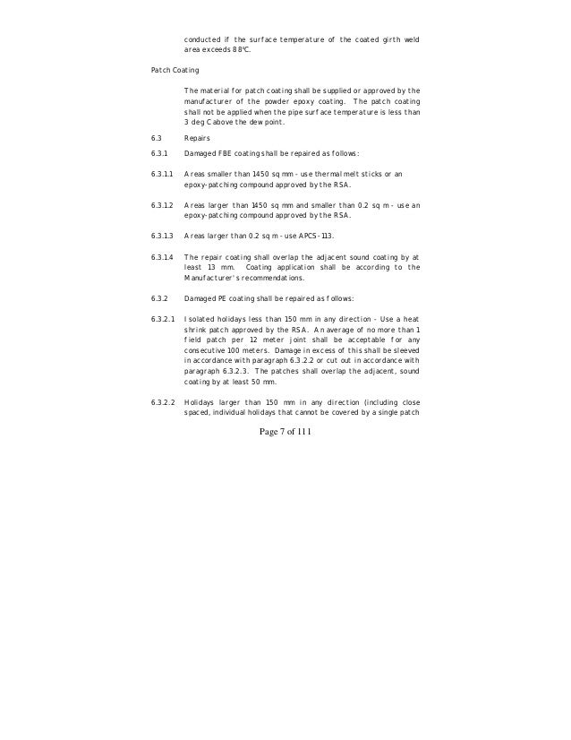 Aramco inspection handbook holiday detection shall not be 8 page 7 of fandeluxe Image collections