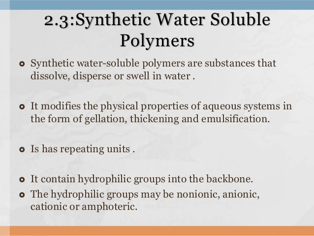 Aramid Fibers And Water Soluble Polymers