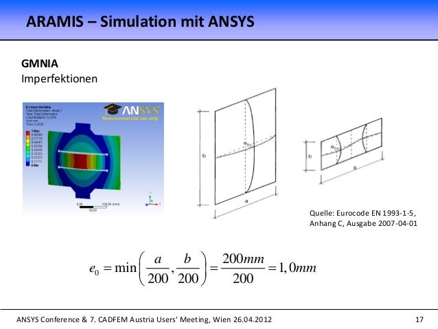 ANSYS Conference & 7. CADFEM Austria Users' Meeting, Wien 26.04.2012 17 GMNIA Imperfektionen ARAMIS – Simulation mit ANSYS...