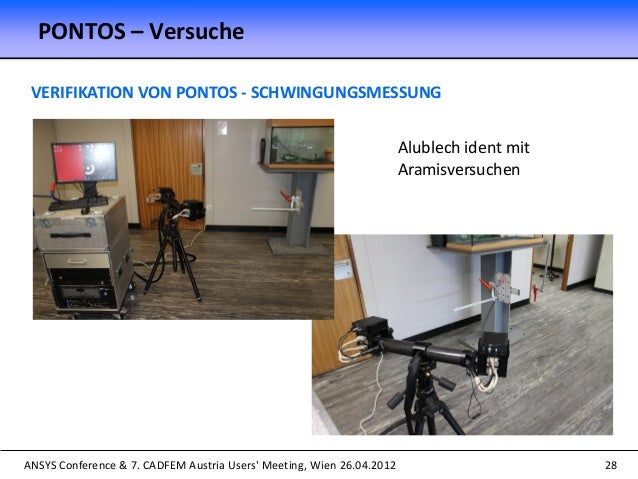 ANSYS Conference & 7. CADFEM Austria Users' Meeting, Wien 26.04.2012 28 VERIFIKATION VON PONTOS - SCHWINGUNGSMESSUNG PONTO...