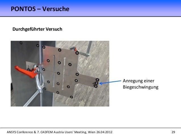 ANSYS Conference & 7. CADFEM Austria Users' Meeting, Wien 26.04.2012 29 Anregung einer Biegeschwingung Durchgeführter Vers...