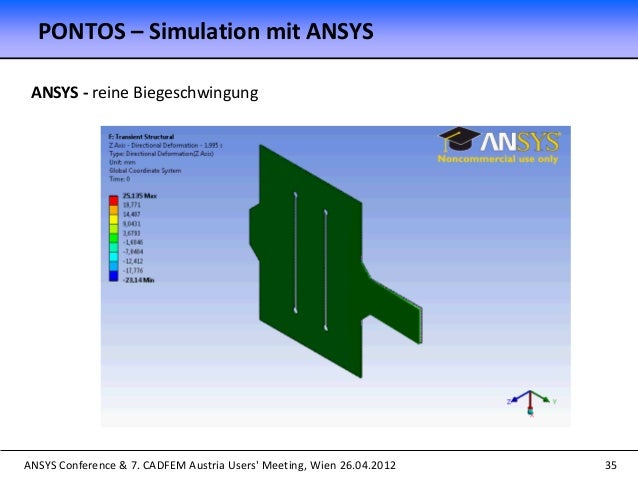 ANSYS Conference & 7. CADFEM Austria Users' Meeting, Wien 26.04.2012 35 ANSYS - reine Biegeschwingung PONTOS – Simulation ...
