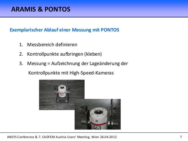 ANSYS Conference & 7. CADFEM Austria Users' Meeting, Wien 26.04.2012 7 Exemplarischer Ablauf einer Messung mit PONTOS 1. M...