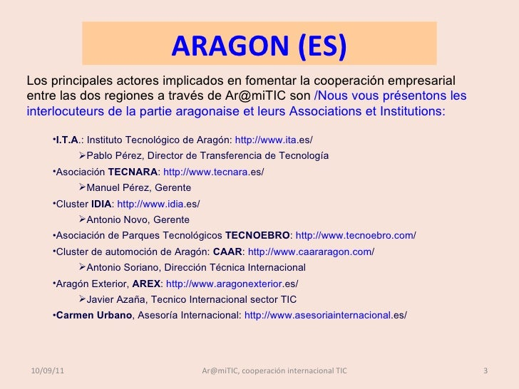 COOPERACION ARAMITIC ARAGON MIDI-PYRÉNÉES, PRESENTACION OCTUBRE 2011 Slide 3