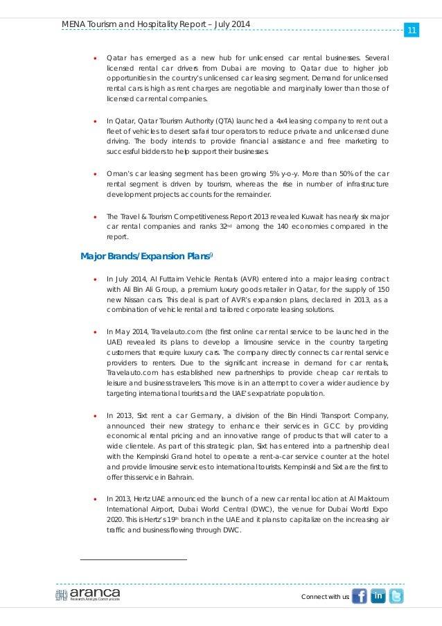 Aranca Mena Tourism and Hospitality Report - July 2014