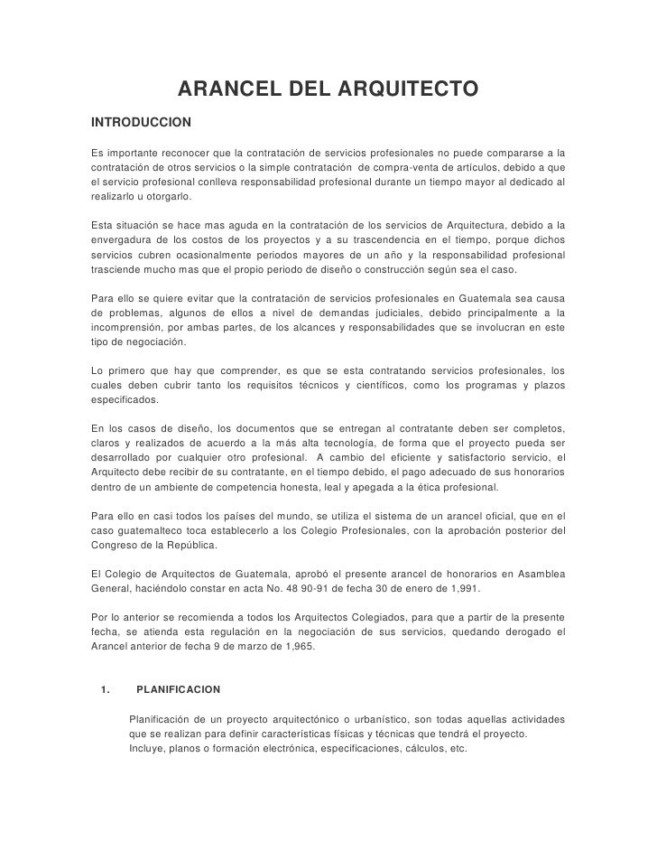 Arancel del arquitecto guatemala for Honorarios arquitecto