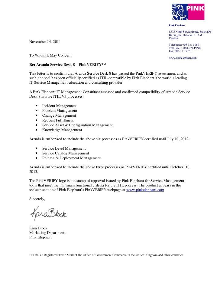 Certificacin Pinkverify Aranda Service Desk