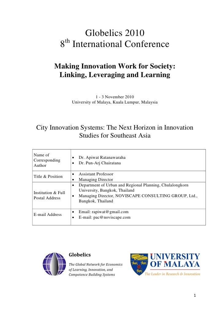 Globelics 2010                8th International Conference             Making Innovation Work for Society:             Lin...