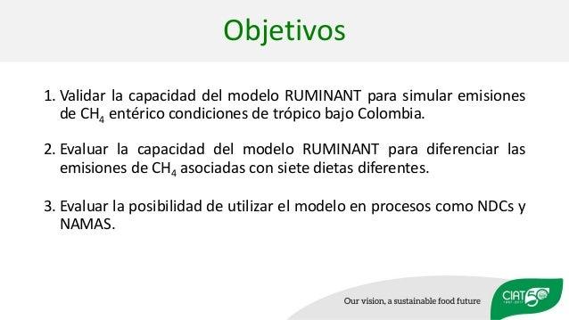 Objetivos 1. Validar la capacidad del modelo RUMINANT para simular emisiones de CH4 entérico condiciones de trópico bajo C...