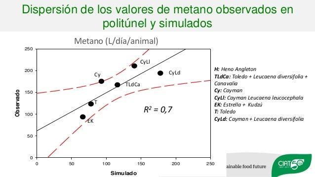 Dispersión de los valores de metano observados en politúnel y simulados Simulado 0 50 100 150 200 250 Observado 0 50 100 1...