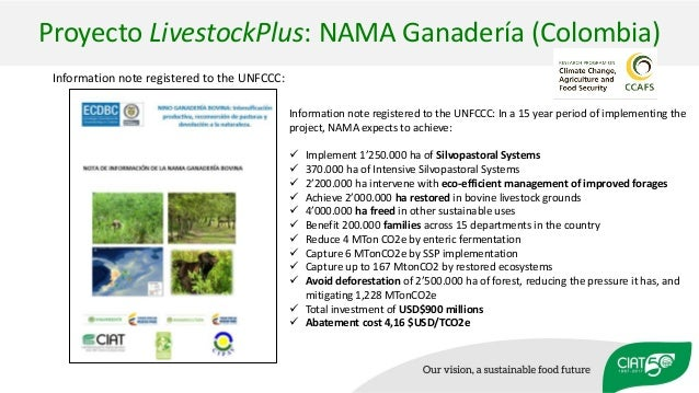 Proyecto LivestockPlus: NAMA Ganadería (Colombia) Information note registered to the UNFCCC: Information note registered t...