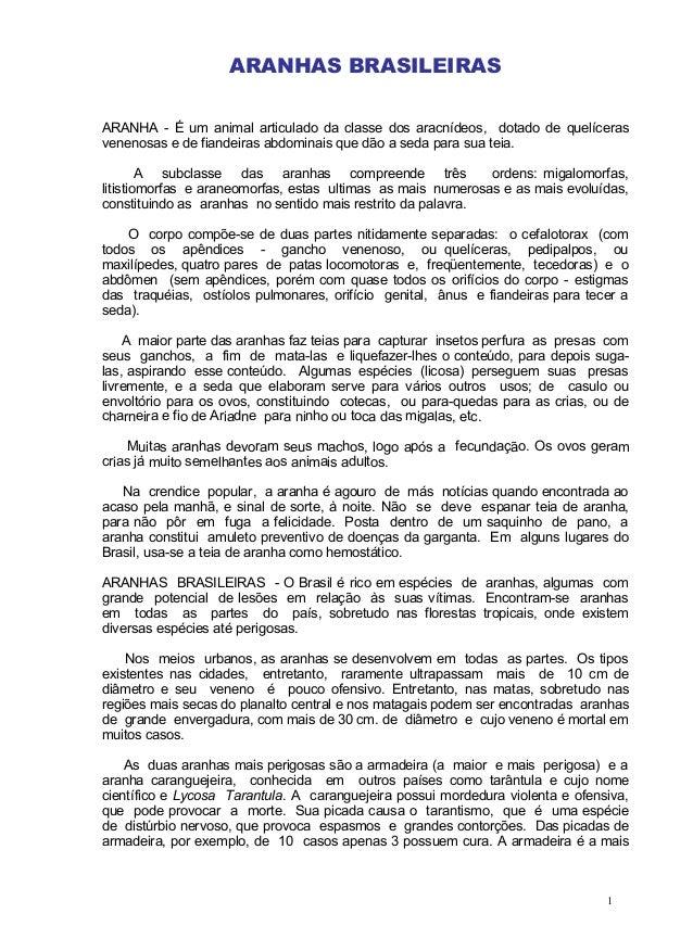 ARANHAS BRASILEIRAS ARANHA - É um animal articulado da classe dos aracnídeos, dotado de quelíceras venenosas e de fiandeir...