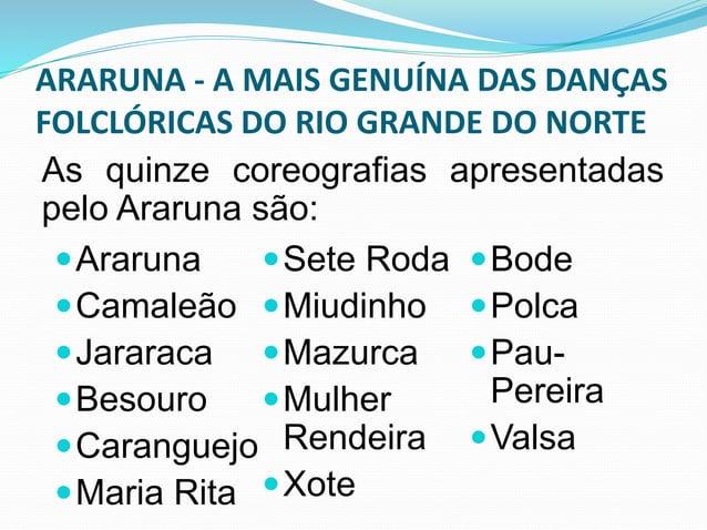 ARARUNA - A MAIS GENUÍNA DAS DANÇAS  FOLCLÓRICAS DO RIO GRANDE DO NORTE  ARARUNA  Pássaro que tange as aves para comer  os...