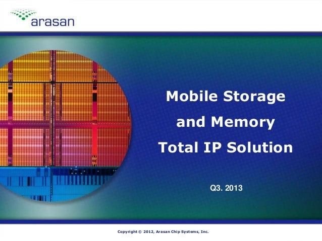 Copyright © 2012, Arasan Chip Systems, Inc.Copyright © 2012, Arasan Chip Systems, Inc. Mobile Storage and Memory Total IP ...