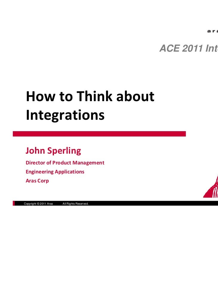 ACE 2011 International How to Think about  How to Think about Integrations John Sperling John Sperling Director of Product...