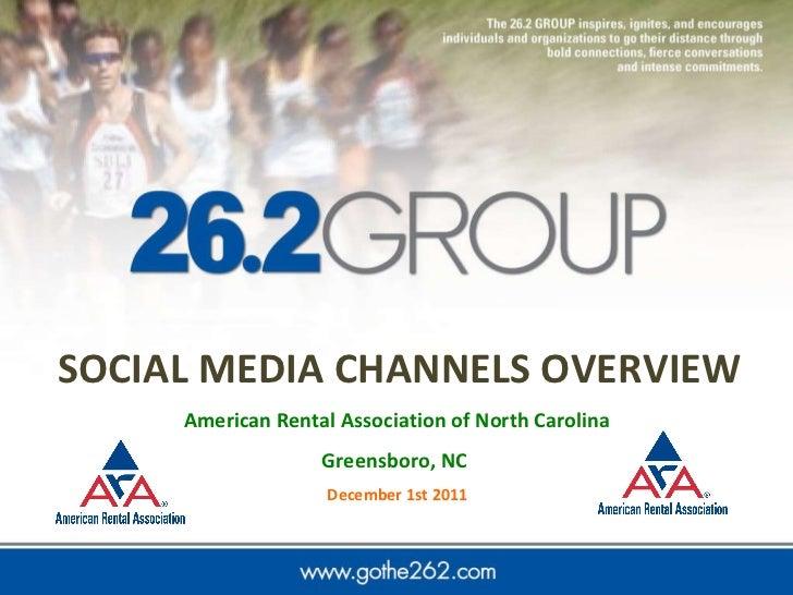 SOCIAL   MEDIA CHANNELS OVERVIEW American Rental Association of North Carolina  Greensboro, NC  December 1st 2011