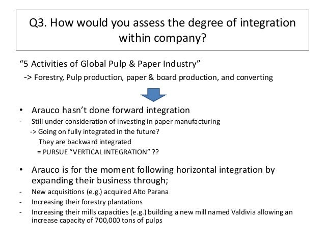 backward vertical integration in pulp and Vertical integration is the merging together of two businesses that are at different stages of production—for example, a food manufacturer and a chain of supermarkets merging in this way with.