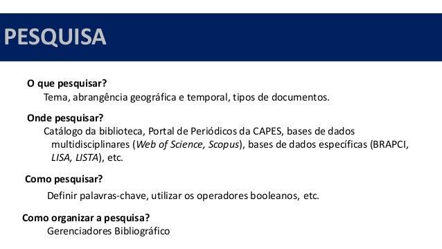 O que pesquisar? Tema, abrangência geográfica e temporal, tipos de documentos. Onde pesquisar? Catálogo da biblioteca, Por...