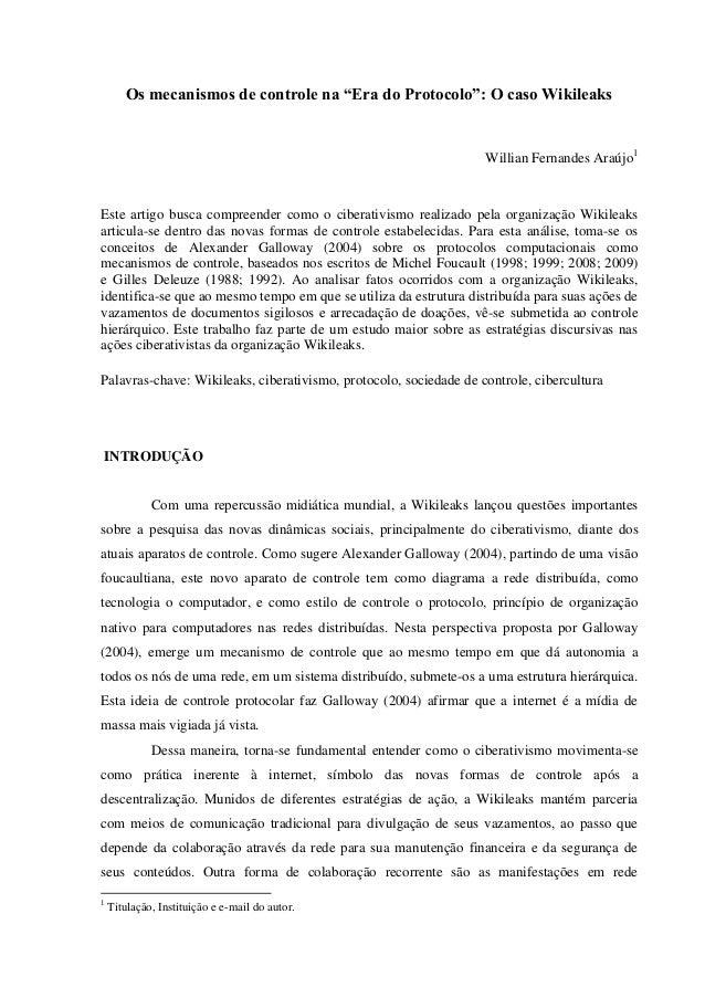 "Os mecanismos de controle na ""Era do Protocolo"": O caso Wikileaks                                                         ..."