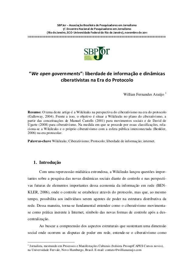 SBPJor – Associação Brasileira de Pesquisadores em Jornalismo                                    9º. Encontro Nacional de ...