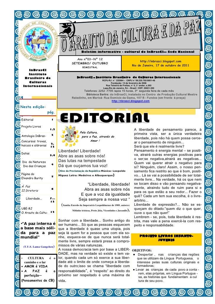 Boletim informativo - cultural do InBrasCI— Sede Nacional                                          Ano nº03—Nº 12         ...