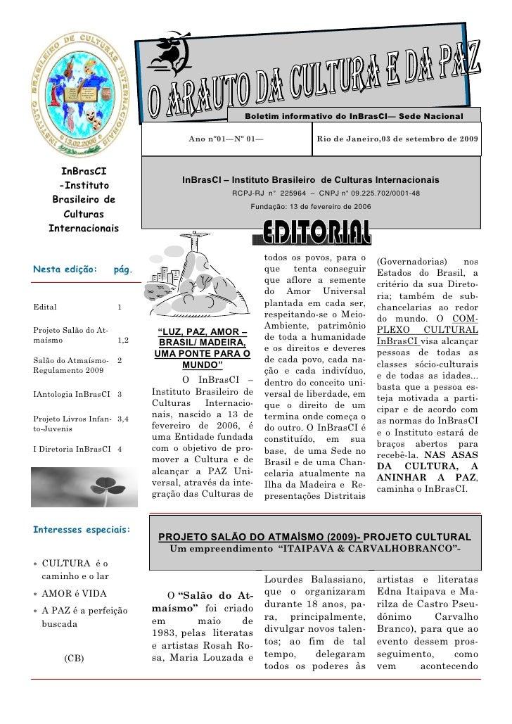 Boletim informativo do InBrasCI— Sede Nacional                                      Ano nº01—Nº 01—                  Rio d...
