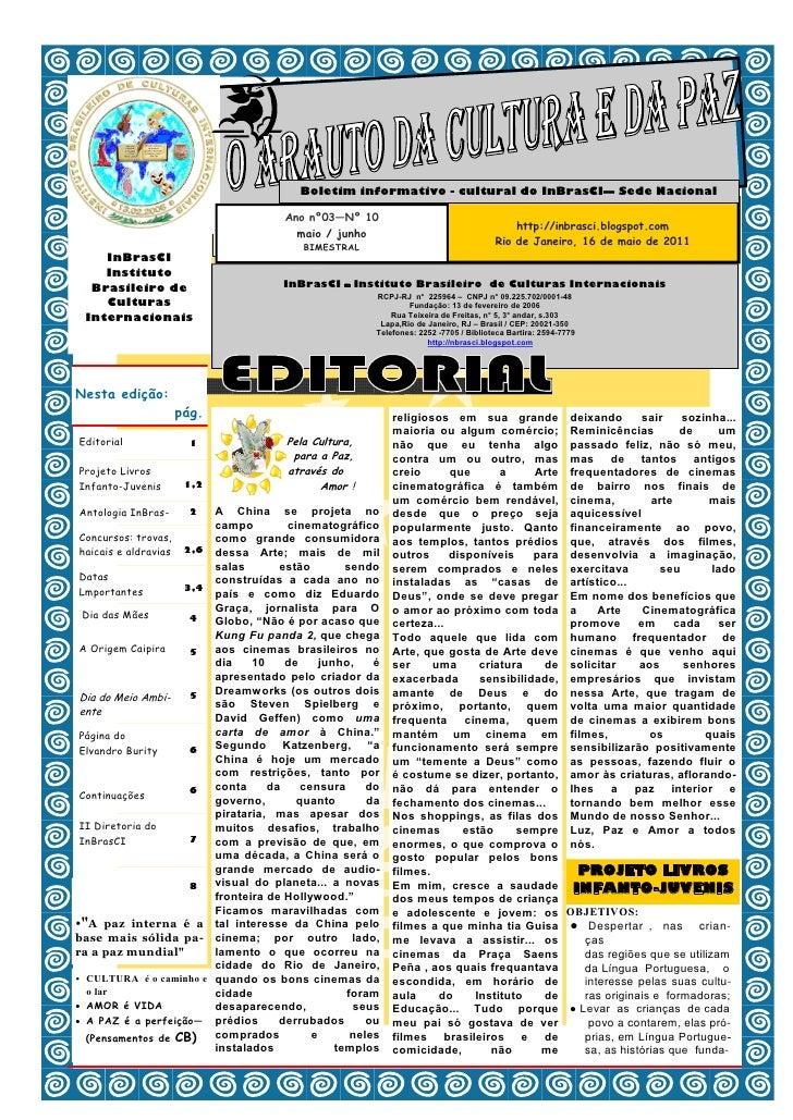 Boletim informativo - cultural do InBrasCI— Sede Nacional                                        Ano nº03—Nº 10           ...